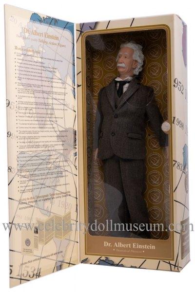 Albert Einstein talking doll box inside panel