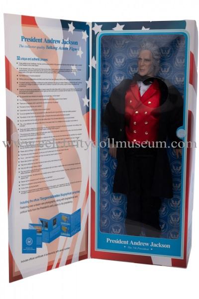 Andrew Jackson talking doll box flap open