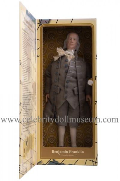 Benjamin Franklin talking doll box open flap