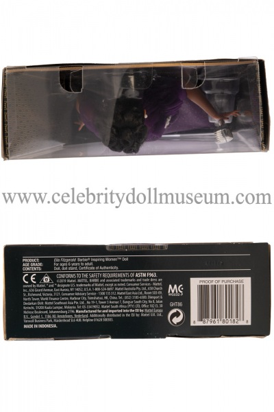 Ella Fitzgerald doll box top and bottom