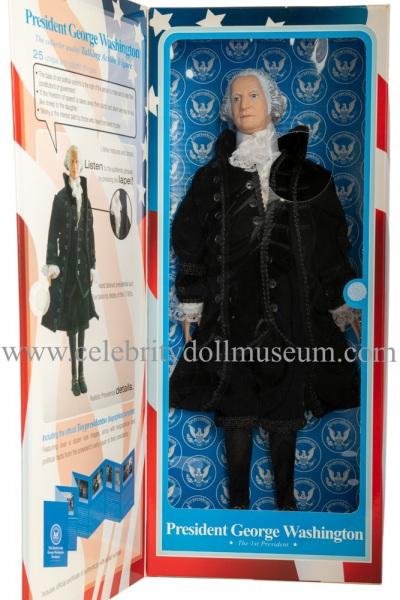 George Washington talking doll box flap open
