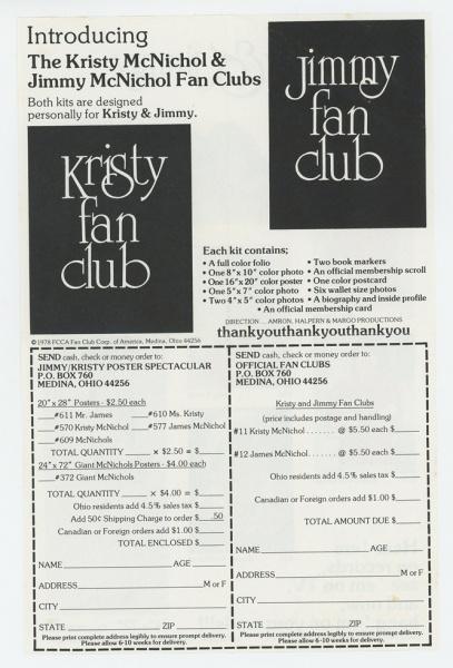 Kristy and Jimmy McNichol Fan Club Brochure back