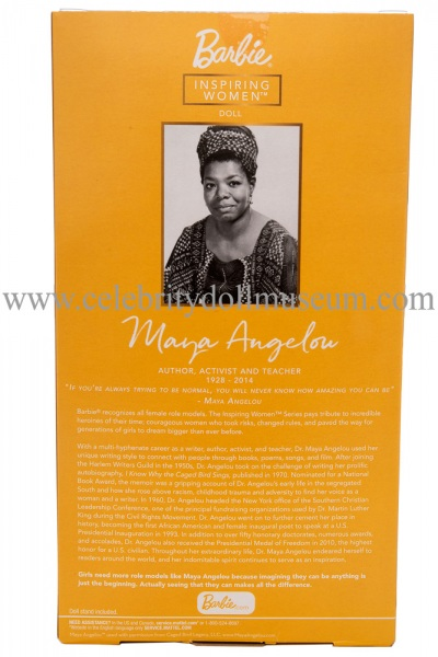 Maya Angelou doll box back