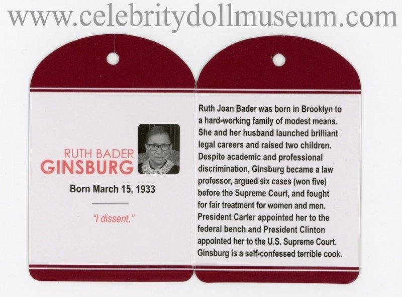 Ruth Bader Ginsburg doll tag inside
